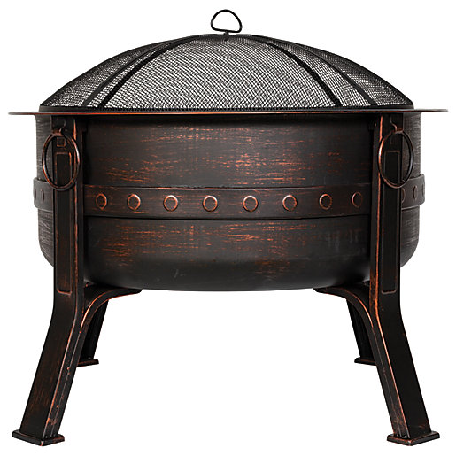 Brava steel deep firepit with bronze effect