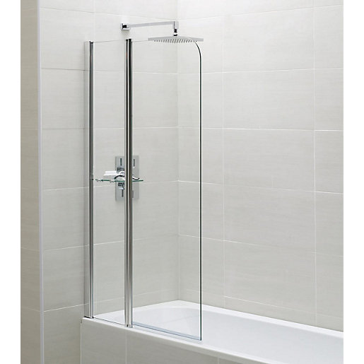 Wickes Chrome Fixed Bath Screen - 1400 x