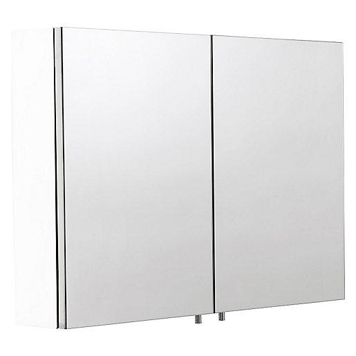 Wickes Dawley Folded White Steel Double Bathroom Cabinet