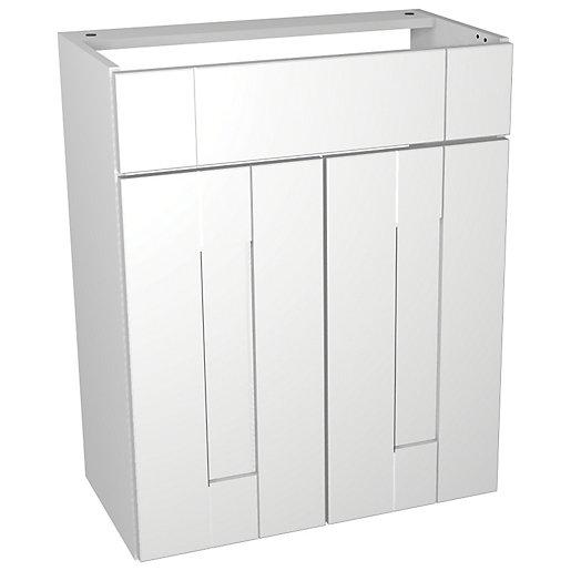 Wickes Vermont White Vanity Unit - 600 x