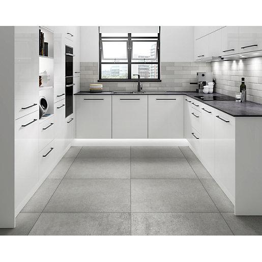Wickes Boutique Andora Grey Glazed Porcelain Wall &