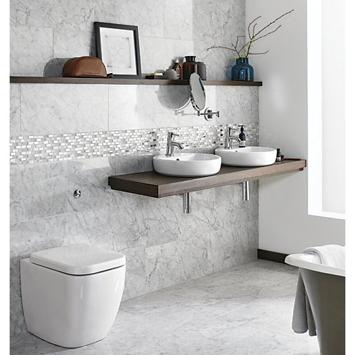Wickes Boutique Carrara Polished Marble Wall & Floor