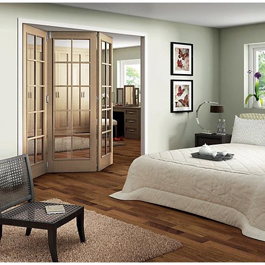 Jeld-Wen Fully Glazed Oak 10 Lite Internal Bi-Fold
