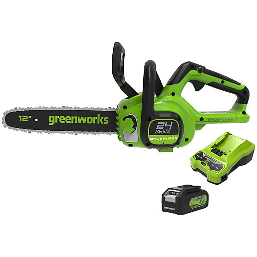 Greenworks 24V Cordless Brushless Chainsaw with 4Ah Battery