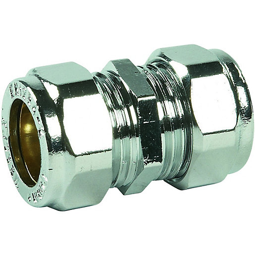 Primaflow Chrome Plated Compression Straight Coupling - 15mm