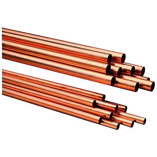 Wickes Copper Pipe 22mm x 2m Pack 10