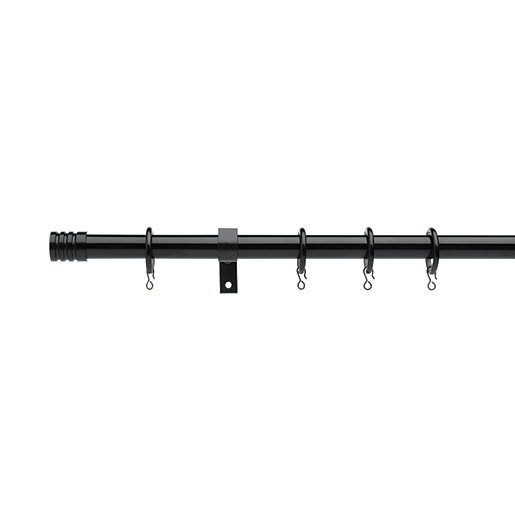 Universal Curtain Pole with Stud Finials - Black
