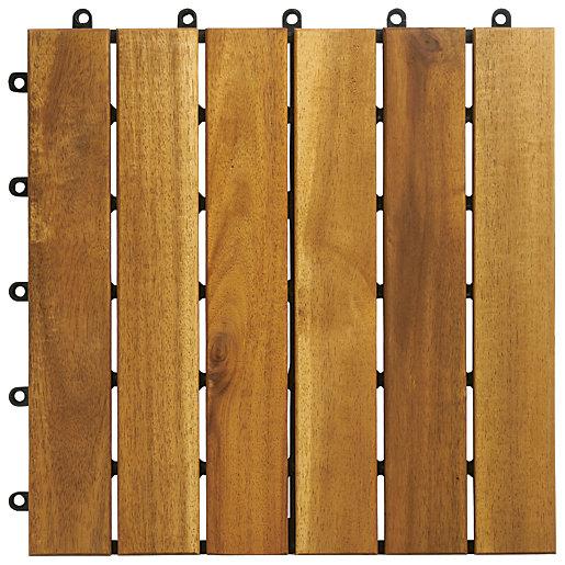 Wickes Acacia Garden Deck Tile - 300mm