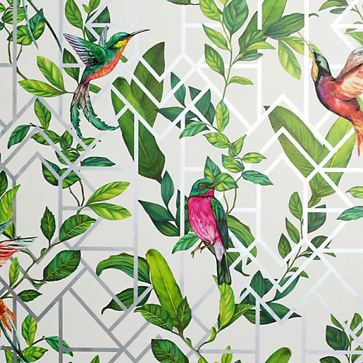 Arthouse Deco Tropical White Multi Wallpaper 10.05m x