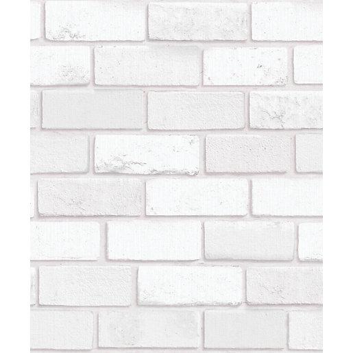 Arthouse Diamond White Brick Wallpaper 10 05m X 53cm Wickes Co Uk