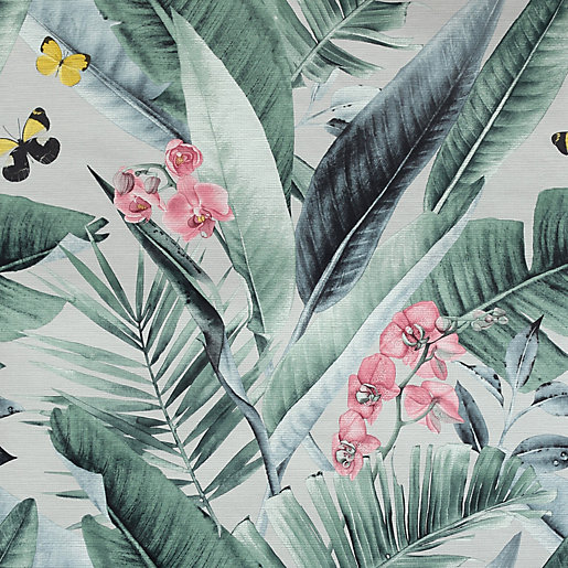 Arthouse Lush Tropical Grey Wallpaper 10.05m x 53cm