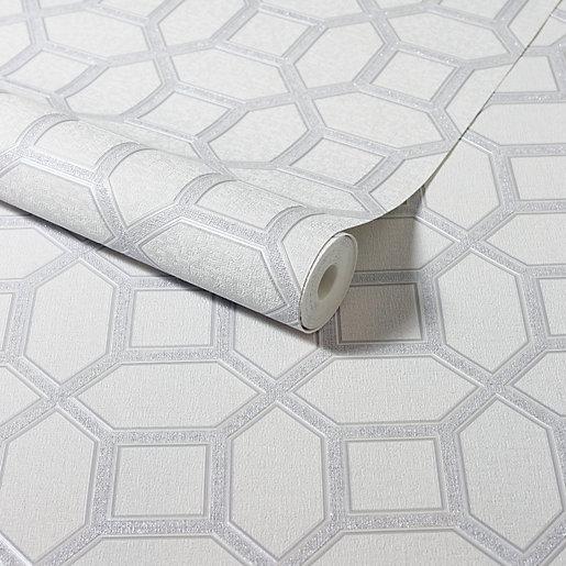 Arthouse Luxe Origin White & Silver Wallpaper 10.05m