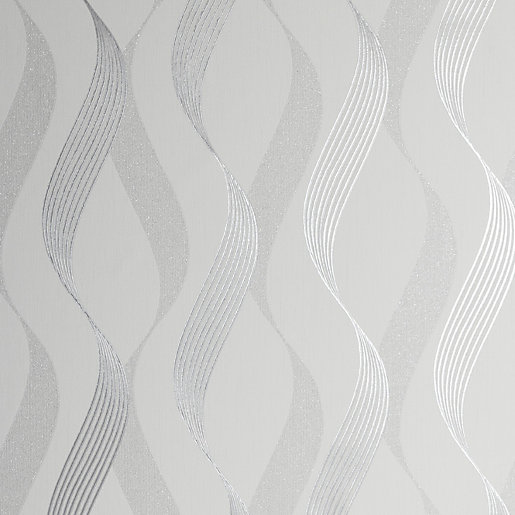 Arthouse Luxe Ribbon White & Silver Wallpaper 10.05m