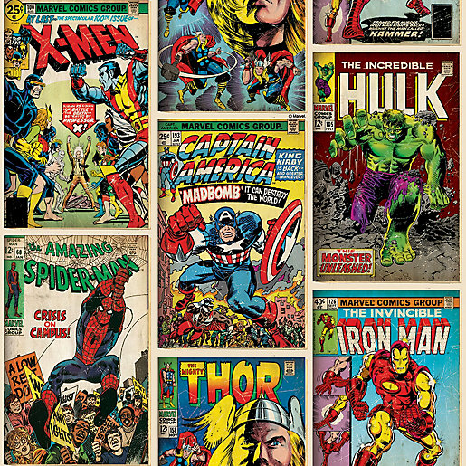 Marvel Action Heroes Comic Book Decorative Wallpaper -