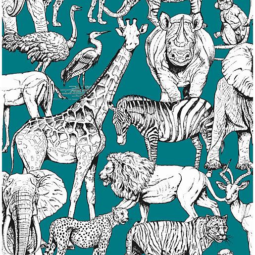 Superfresco Easy Jungle Animals Green Wallpaper 10m
