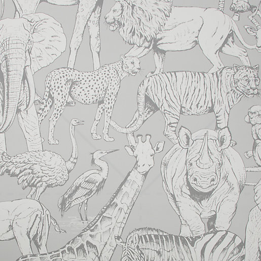Superfresco Easy Jungle Animals Grey Wallpaper 10m