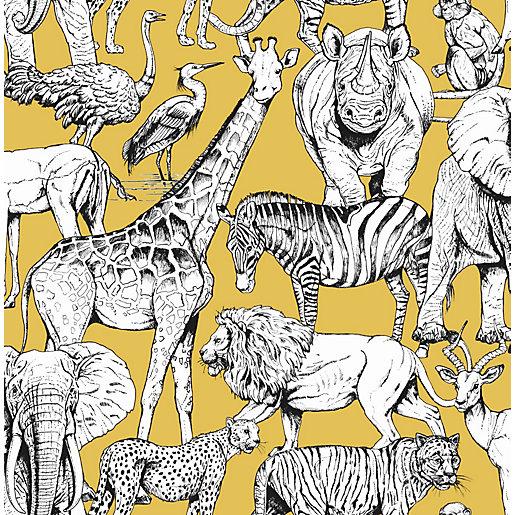 Superfresco Easy Jungle Animals Yellow Wallpaper 10m
