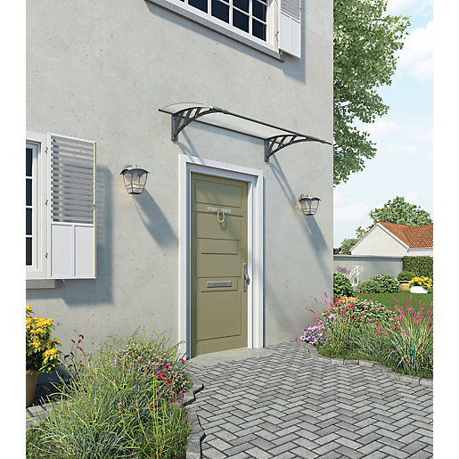 Palram Neo 1350 Twinwall Polycarbonate Door Canopy Grey