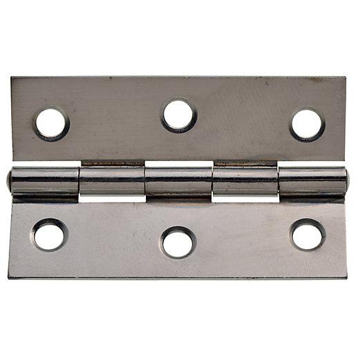 Wickes Butt Hinge - Chrome/Steel 76mm Pack of