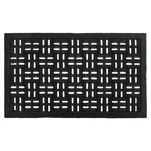 Black Rubber Trellis Doormat 45x75cm