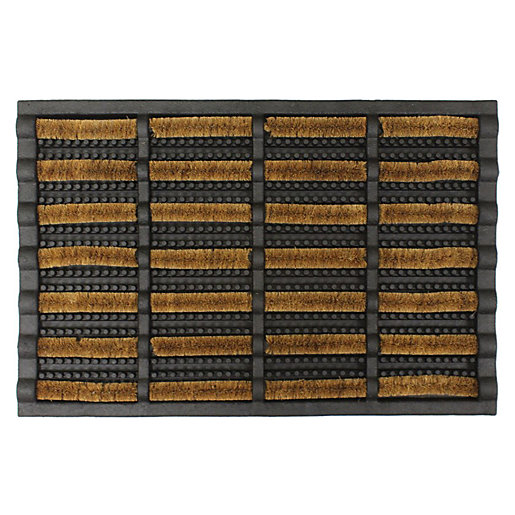 Natural Coir And Black Rubber Doormat 40 x
