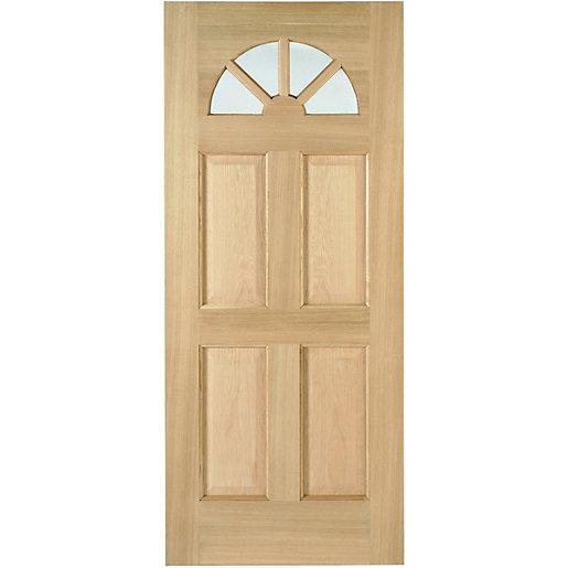 Wickes Carolina External Oak Door Glazed 4 Panel