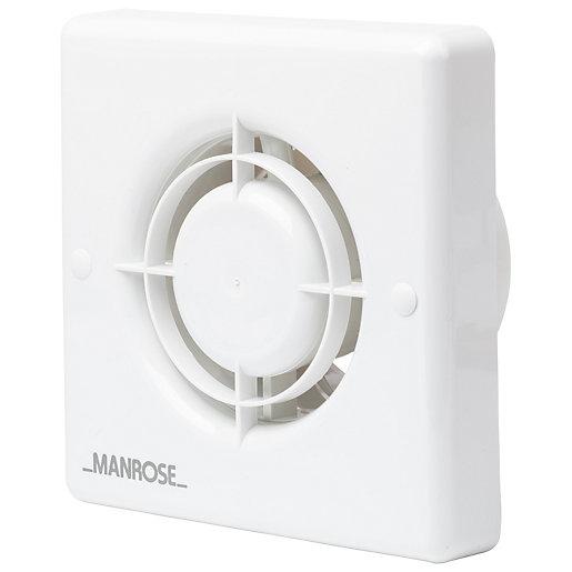 Manrose Bathroom Fan with Timer - White 100mm