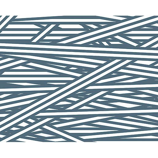 ohpopsi Petrol Blue Striped Criss Cross Pattern Wall