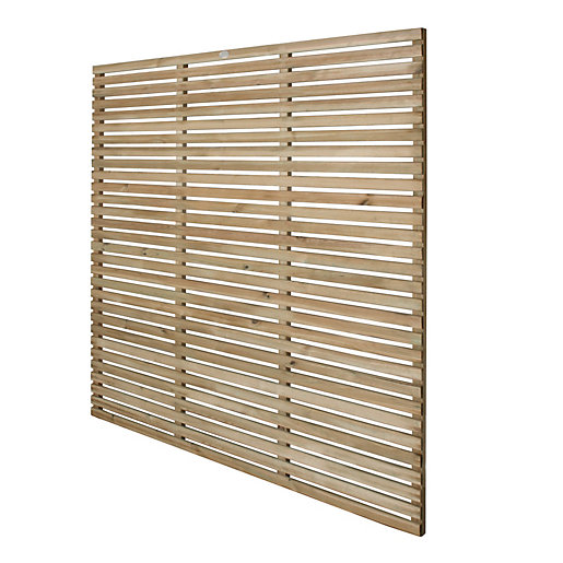 Forest Garden Contemporary Single Slatted Fence Panel -