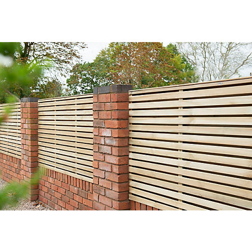 Forest Garden Double Slatted Fence Panel 6 X