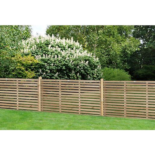 Forest Garden Single Slatted Fence Panel 6 X