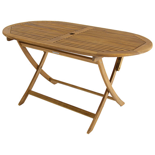 Charles Bentley Fsc Acacia Wooden Oval, Folding Wooden Table For Garden
