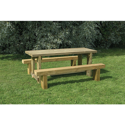 Forest Garden Sleeper Garden Bench And Table Set