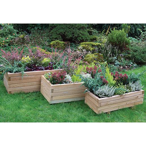 Forest Garden Durham Rectangular Planter - Set of