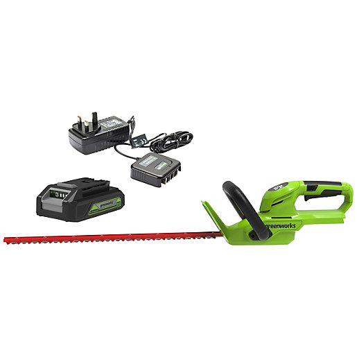 Greenworks 24V Hedge Trimmer with 2Ah Battery &