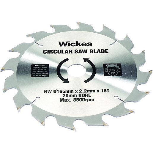 Wickes 16 Teeth Coarse Cut Circular Saw Blade 165 X 20mm Wickes Co Uk