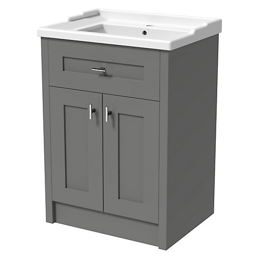 Wickes Hayman Dove Grey Traditional Freestanding Vanity Unit