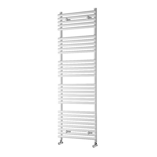Towelrads Liquid Round Tube White Heated Towel Rail