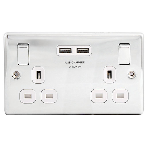 Wickes 13A Raised Plate Twin Switched Socket 2