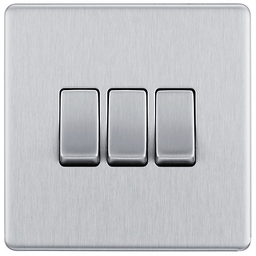 BG Screwless Flatplate Brushed Steel Triple Switch, 10Ax