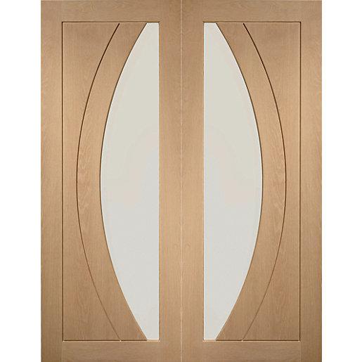 XL Joinery Salerno Glazed Oak Patterned Internal Door