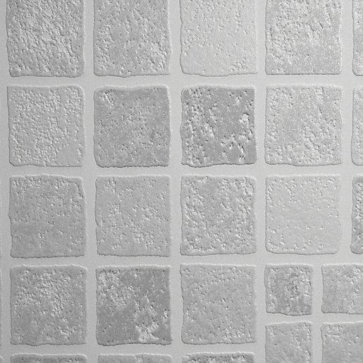 contour earthen grey tile effect kitchen bathroom wallpaper 10m