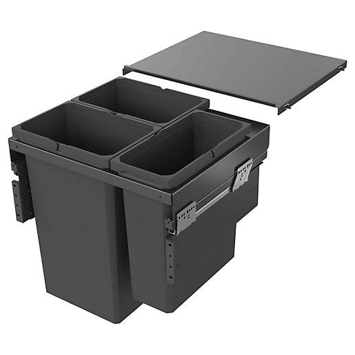 Envi Anthracite 2x32L & 21L bin for 600mm
