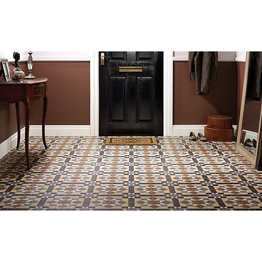 Wickes Dorset Marron Patterned Ceramic Wall & Floor