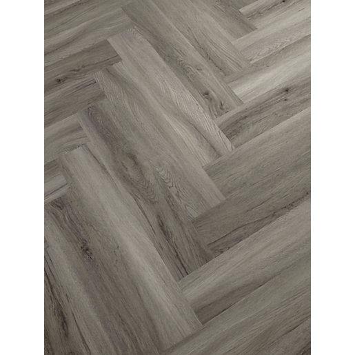 Novocore Herringbone Warm Grey Luxury, Grey Laminate Flooring Wickes