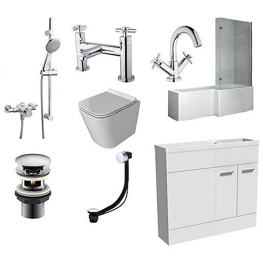 Meleti L-Shaped Shower Bath Suite - Bath, Vanity