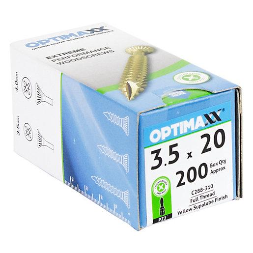 Optimaxx PZ 20mm Countersunk Zinc & Yellow Passivated