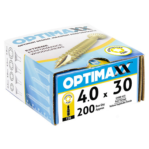 Optimaxx TX 30mm Countersunk Zinc & Yellow Passivated