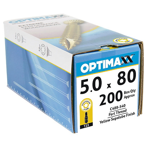 Optimaxx Tx Countersunk Zinc & Yellow Passivated Woodscrew