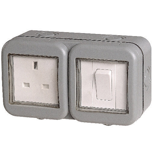 Masterplug 13A Single Exterior Unswitched Socket & Switch